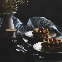 blueberry - lemon almond waffles (gf)
