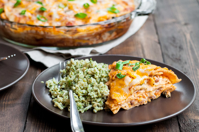 Enchilada pie and green rice