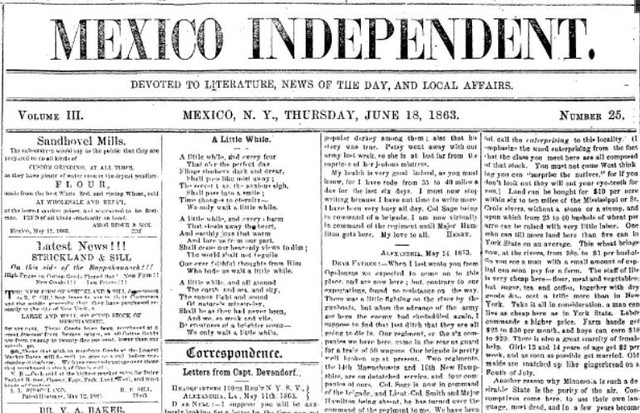 Screen capture of segment of Mexico Independent, Mexico, N.Y. Thursday, June 18, 1863