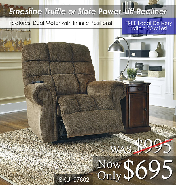 Ernestine Truffle or Slate Power Lift Recliner 97602