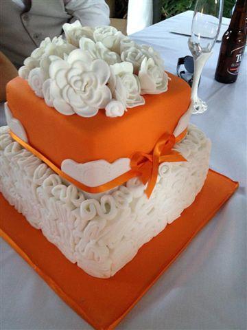 Orange And White Swirl Wedding Cake 2 Tier White