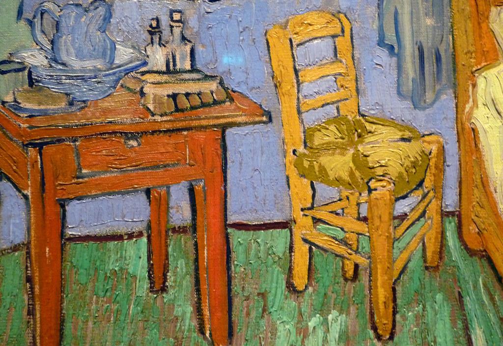 van gogh, the bedroom, detail with chair | vincent van gogh,… | flickr