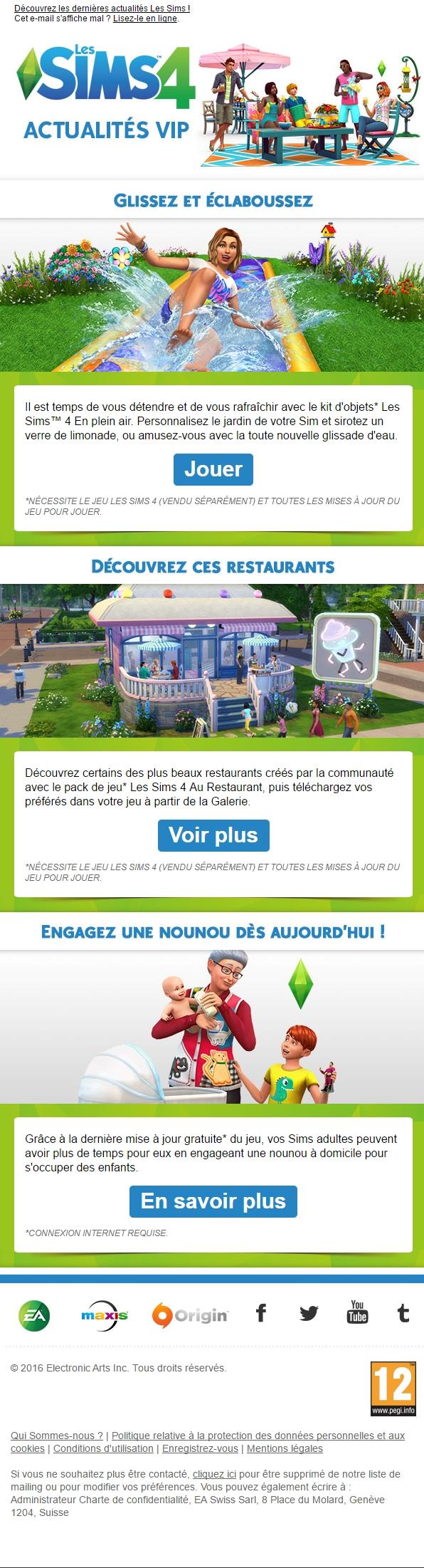 Newsletter Les Sims 4