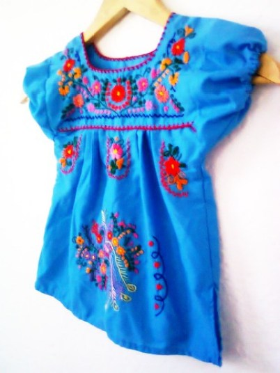 Azul Cielo Handmade Embroidered Mexican Blue Baby Tunic Dress