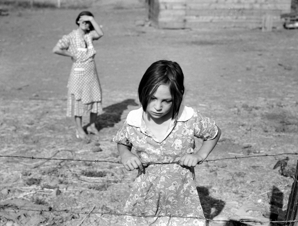 "Lois Adolf, daughter of Chis Adolf, August 1939 ""Washington, Yakima Valley, near Wapato. One of Chris Adolph's younger children. Farm Security Administration Rehabilitation clients."" Dorothea Lange (photographer)"