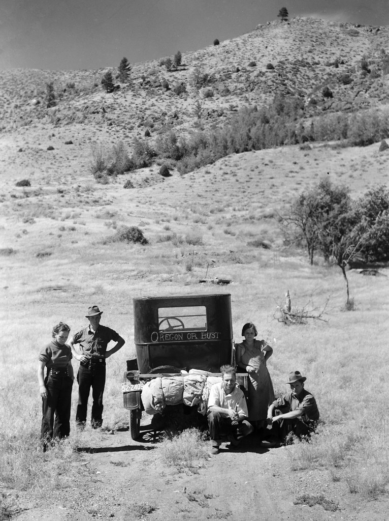 Rothstein, Arthur, photographer. Vernon Evans and family of Lemmon, South Dakota, near Missoula, Montana.Leaving the grasshopper-ridden and drought-stricken area for a new start in Oregon or Washington. Expects to arrive at Yakima in time for hop picking. Makes about two hundred miles a day in Model T Ford. Live in tent. July, 1936.