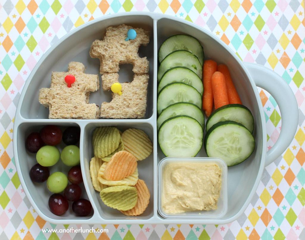 Fun Preschool Lunch With Puzzle Sandwich G S Hummus