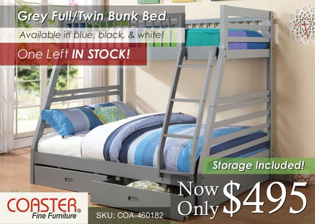 Grey Full-Twin Bunk Coaster new INV