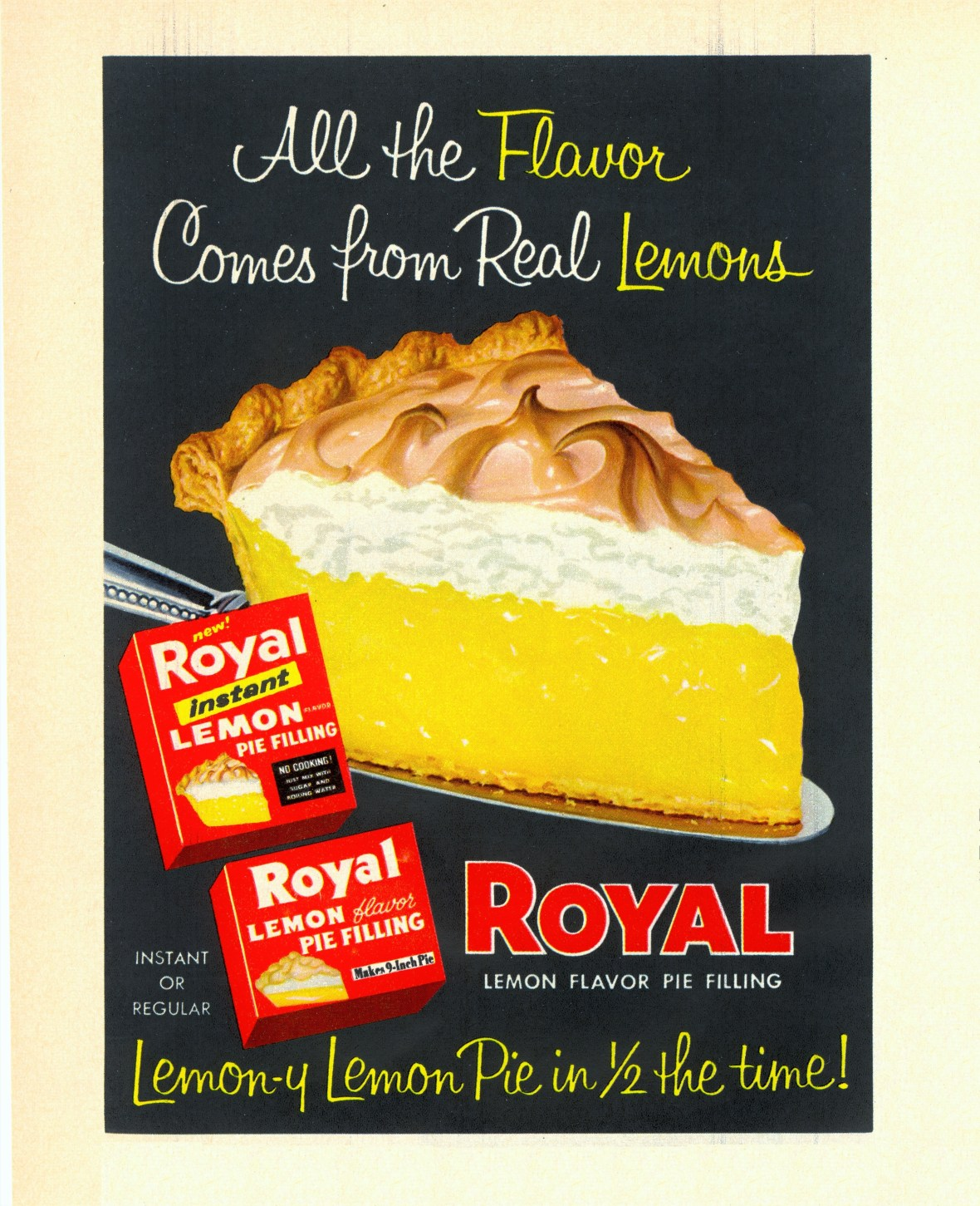 Royal Lemon Flavor Pie Filling - published in Woman's Day - October 1958