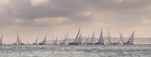 Round the Island Race 2012 - Telephoto Panorama from Yarmouth Pier