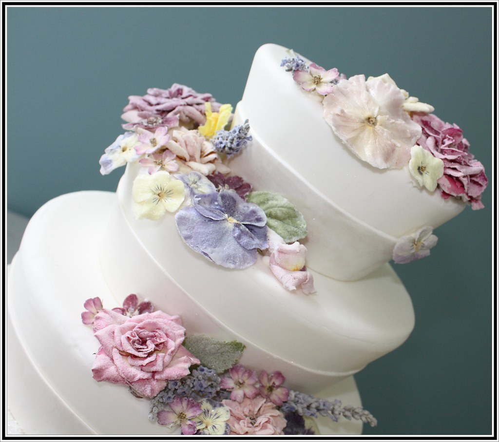 crystallized flowers wedding cake NJ   NJ Custom Wedding Cak      Flickr     crystallized flowers wedding cake NJ   by a cake dream