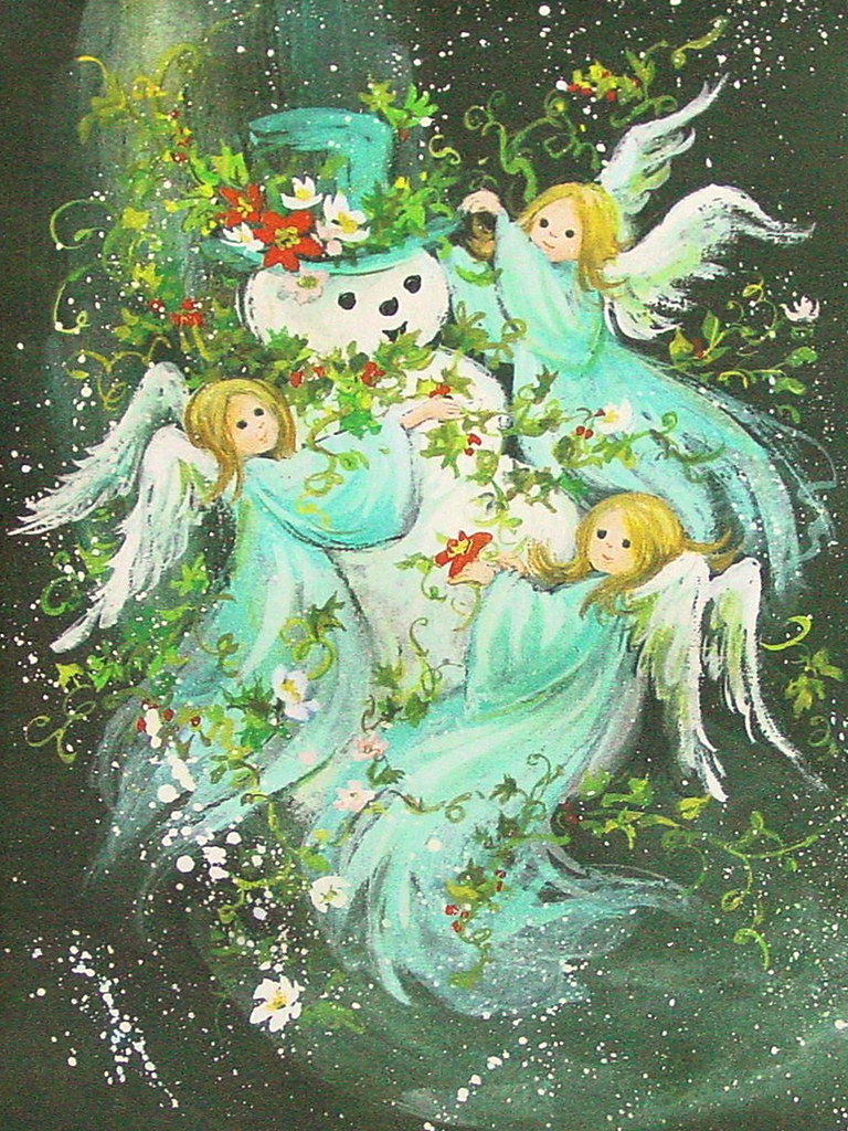 Vintage Christmas Card Angels Building A Snowman Flickr