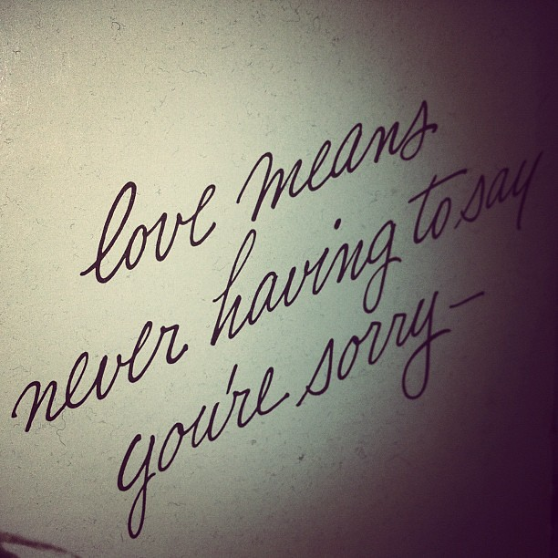 Love Never Having Say You Are Sorry Quote