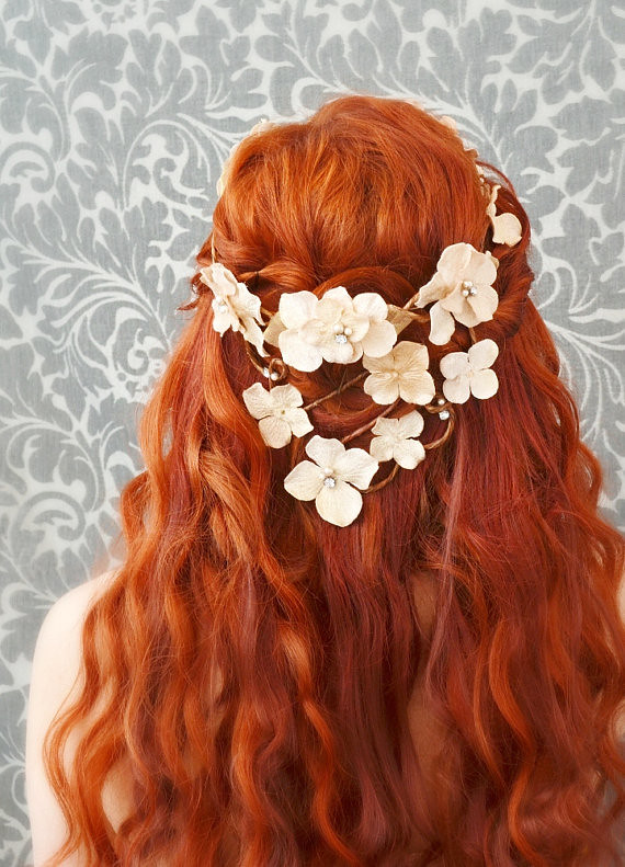 Wedding Flower Crown Hair Wreath Cream Velvet Floral Hea