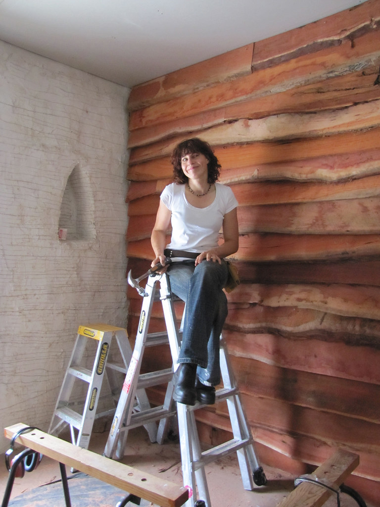 Jarrah Feature Wall Strawbale House Build In Redmond Wes
