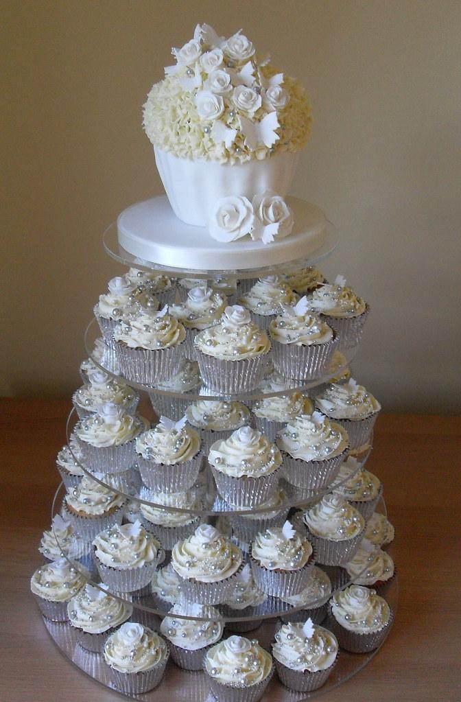 White And Silver Wedding Cupcake Tower Wwwsugarruffles