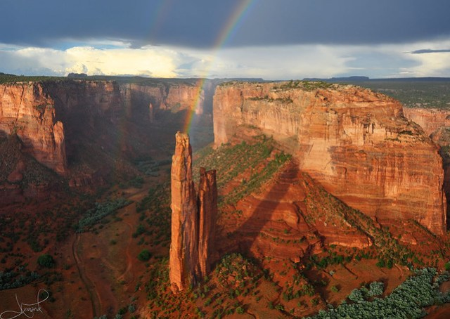 Double Rainbows at Spider Rock, Canyon de Chelly