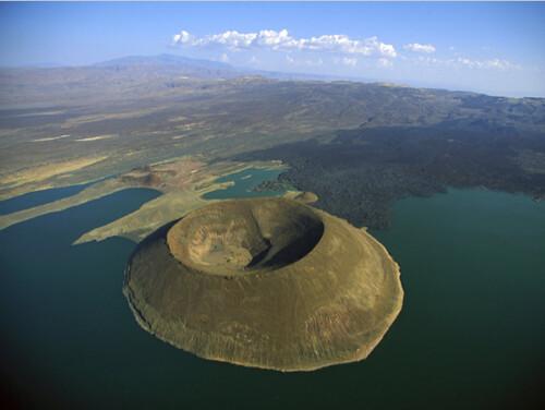 Navbiotum Volcano In Lake Turkana. East Africa