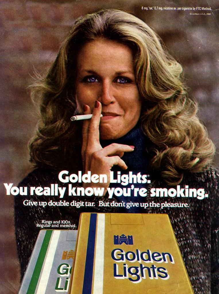 Golden Lights01 Classic Golden Lights Cigarette Ad From