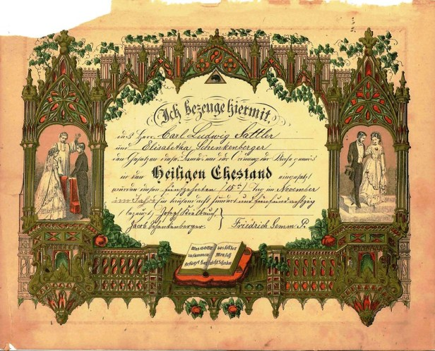 German Bible Marriage Certificate Page