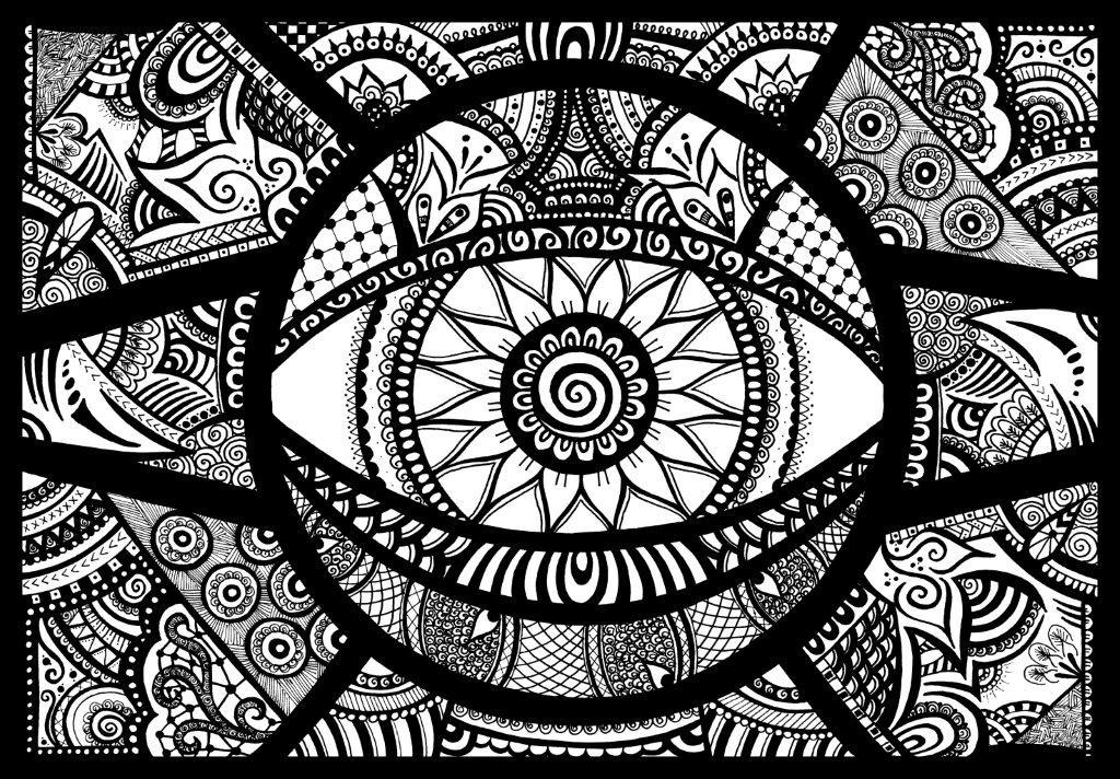 Hypnotica Original Fineliner Doodle Art Zentangle Design