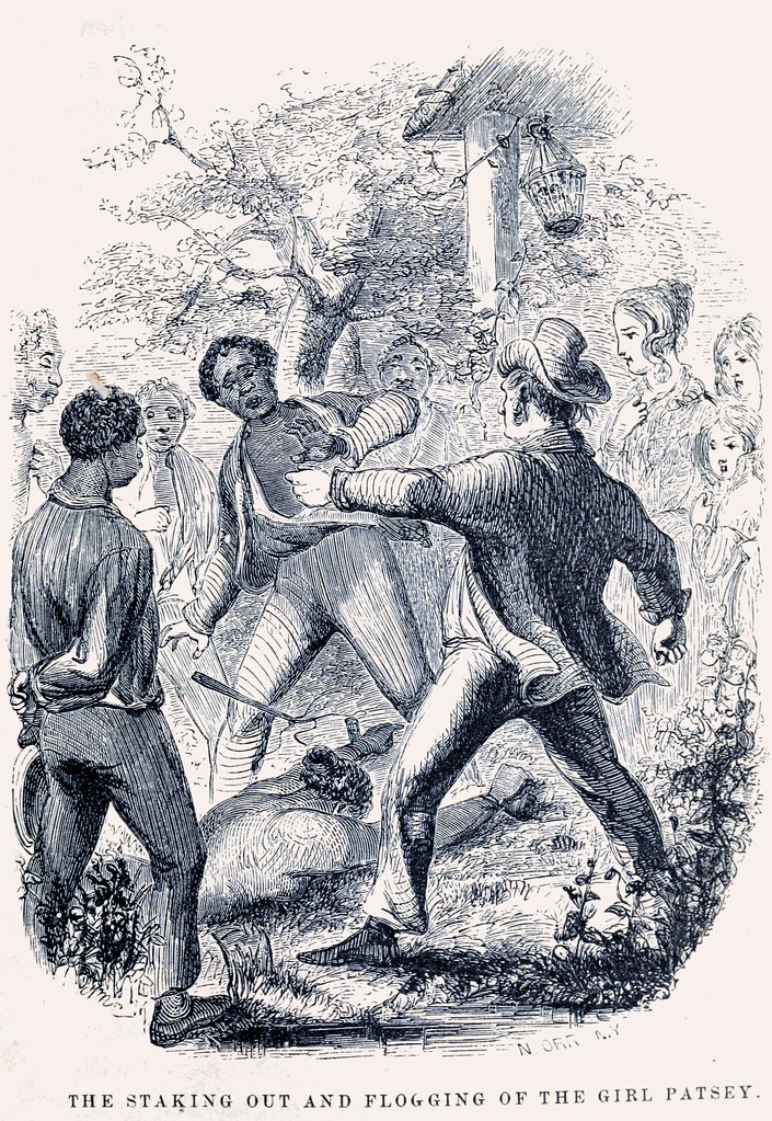 The Staking Out and Flogging of the Girl Patsey - from 1859 publication of Twelve Years a Slave