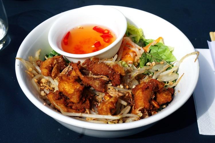 bowl of vietnamese bun noodles with turmeric chicken