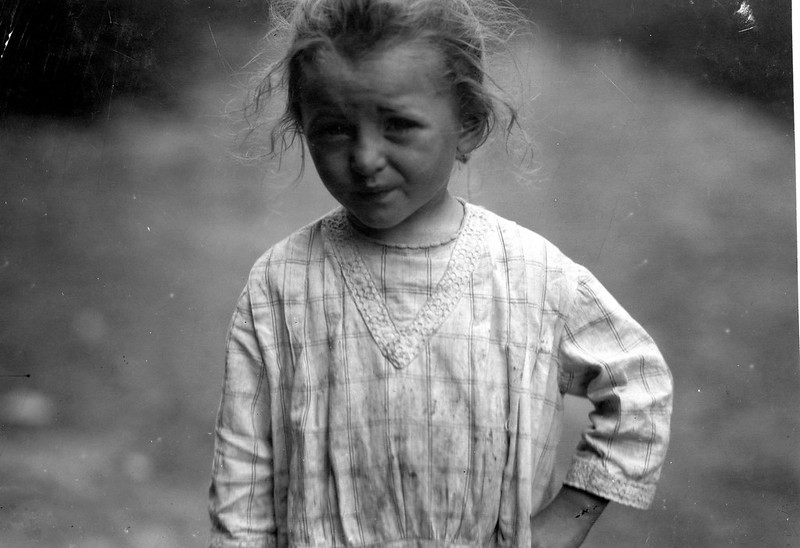 Three-year old Hilda, who is beginning beet work on a Wisconsin farm. July, 1915. Hine, Lewis Wickes, photographer.