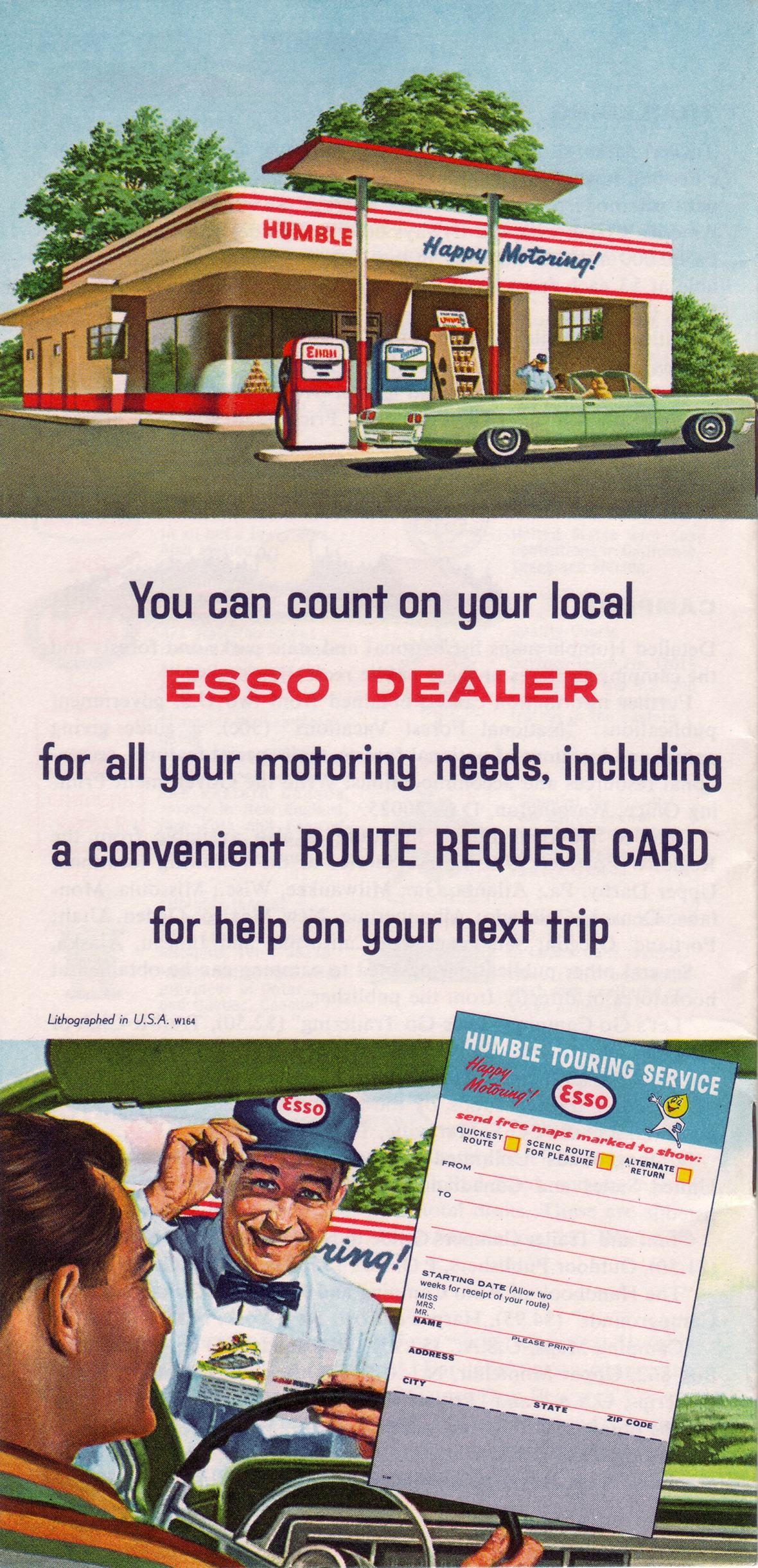 Esso Touring Guide back cover - 1964