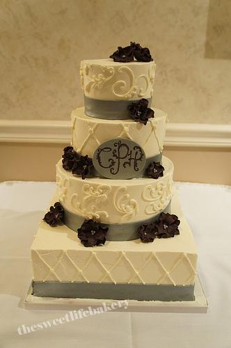 Silver And Maroon Wedding Cake A Four Tier Round Wedding