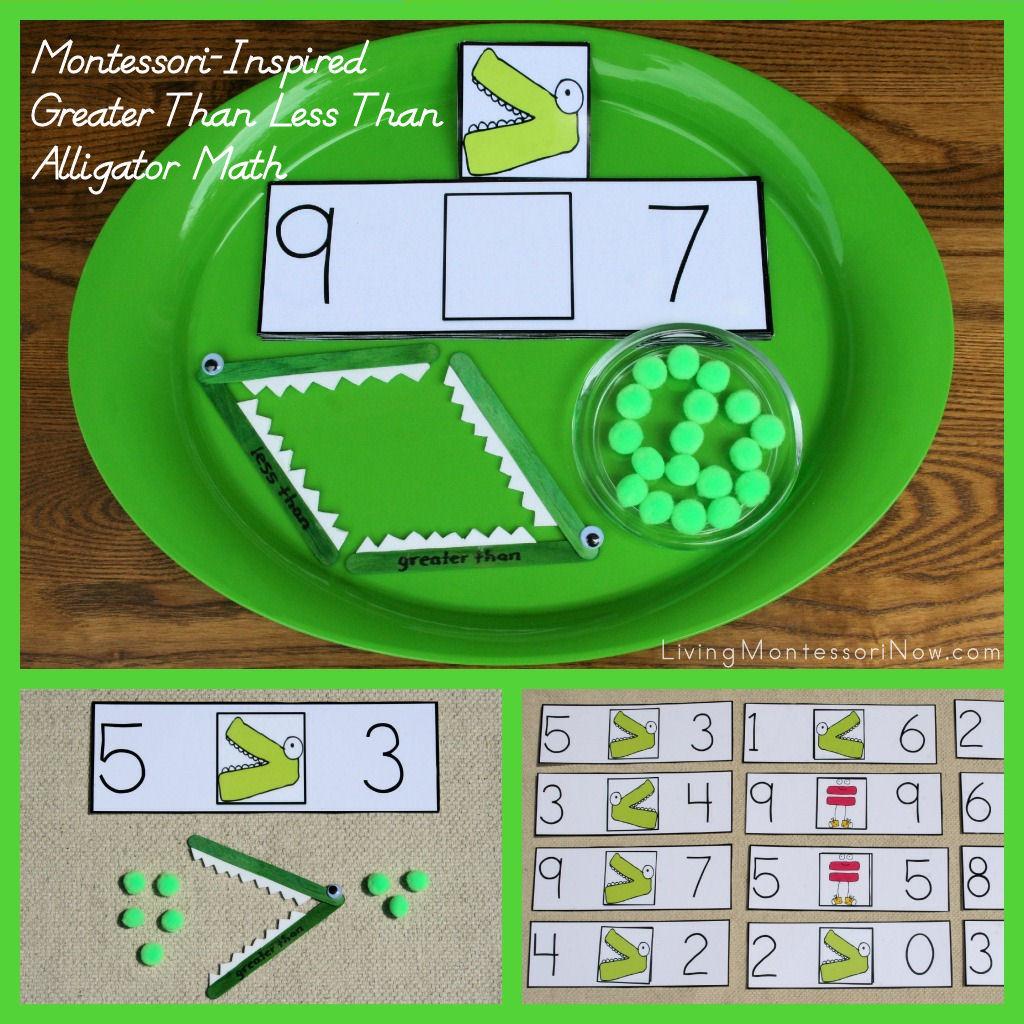 Montessori Inspired Greater Than Less Than Alligator Math