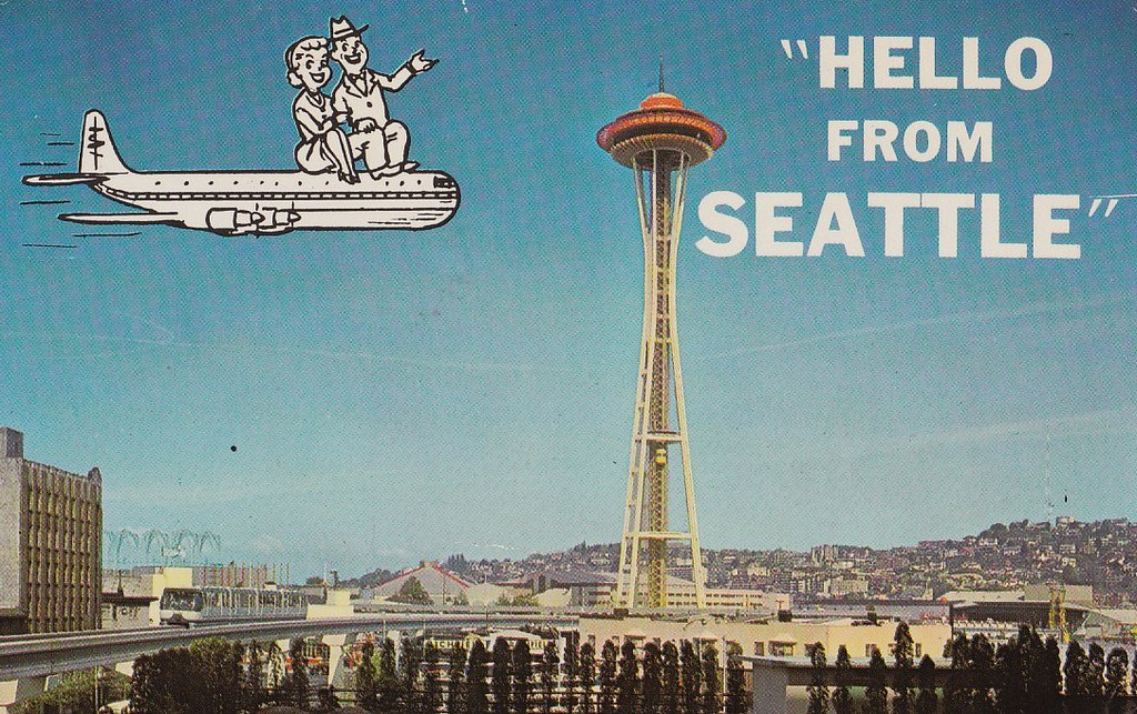 The Seattle Monorail with the Space Needle During the 1960's