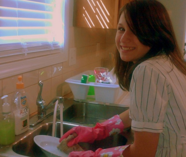 Rubberglovequeen Me Washing Dishes In Pink Floral Rubber Gloves By Rubberglovequeen