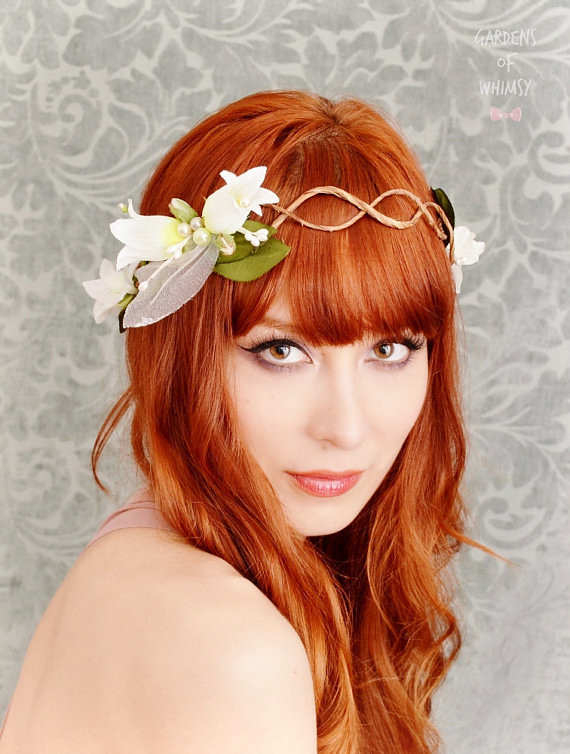 White Flower Crown Wedding Headband Fairy Circlet Brida