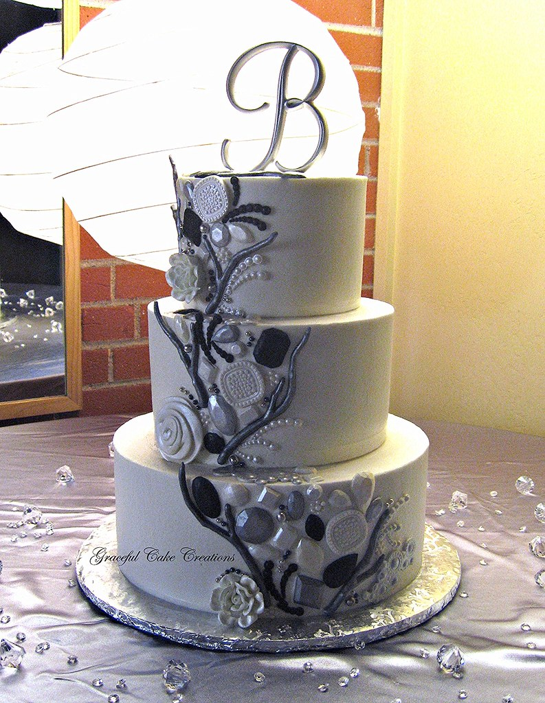 Elegant Buttercream Wedding Cake With Silver Pewter A Pea