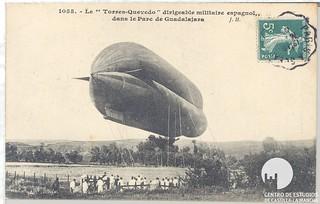 El Torres Quevedo 2 en el Parque de Aerostación de Guadalajara entorno a 1907, muy cerca del lugar donde el 27 de mayo se celebrará el Desfile del Día de las Fuerzas Armadas 2017, con presencia del Rey D.Felipe VI