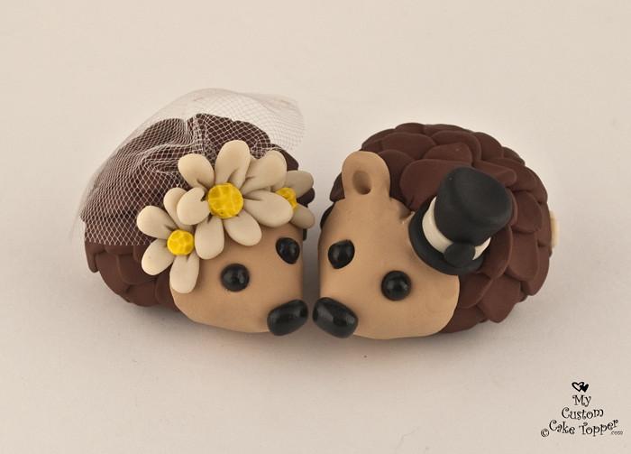Happy Hedgehogs Daisy Wedding Cake Topper Hedgehogs