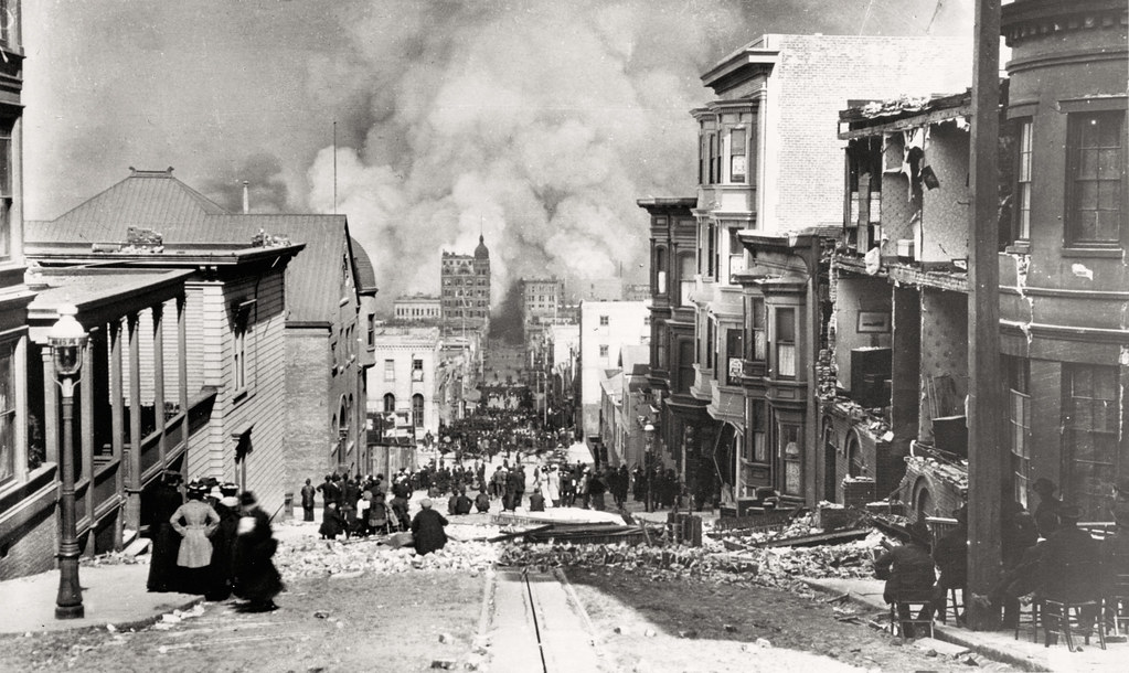 1906 San Francisco Earthquake - Photograph shows people standing on Sacramento Street watching the fire in the distance. Arnold Genthe (photographer)