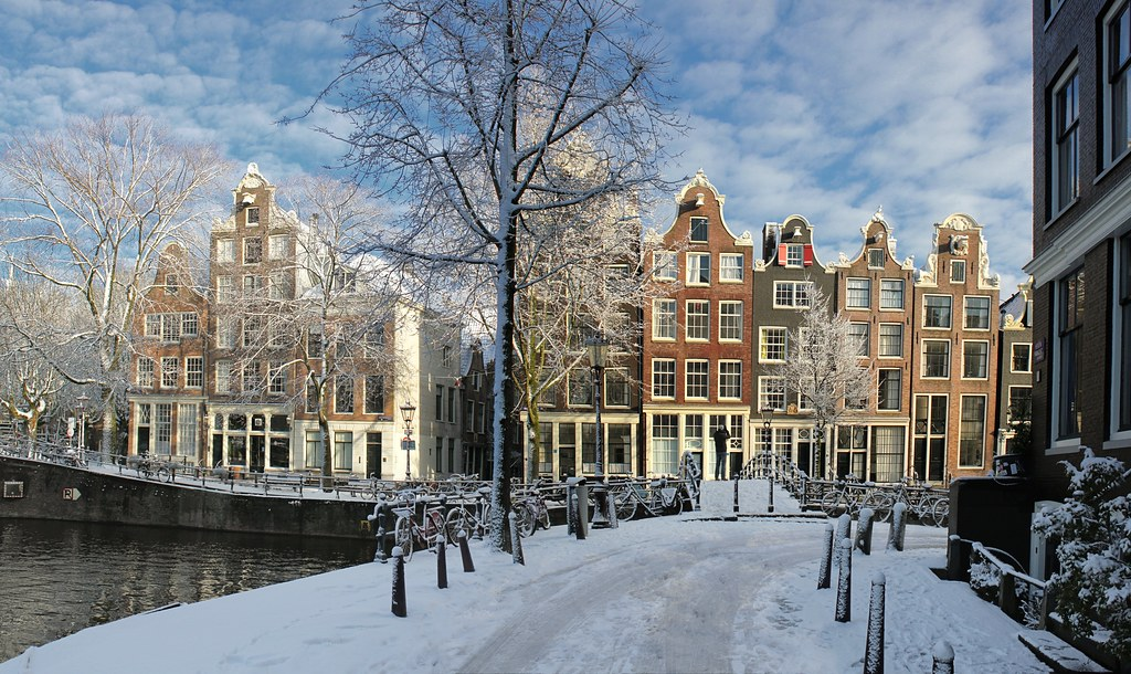Amsterdam Covered By Flakes Of Snow All Rights