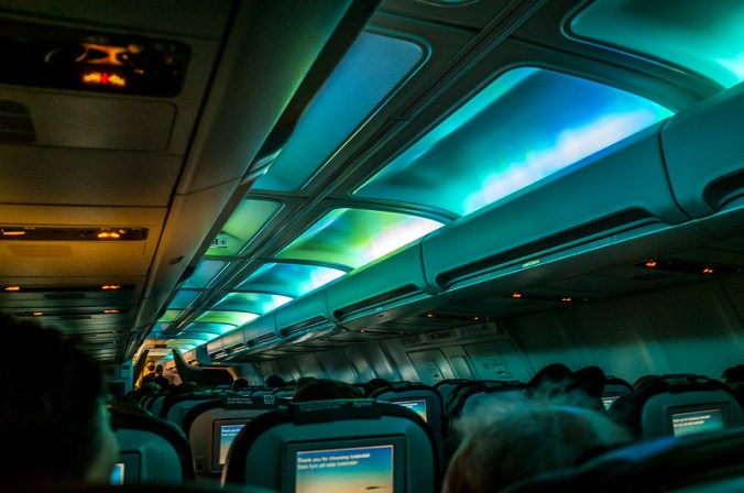 Northern Lights aboard our Icelandair flight to Reykjavik