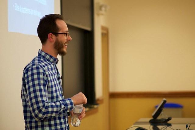 Photo of Joe McGill taken during his presentation at WordCamp St. Louis 2015.