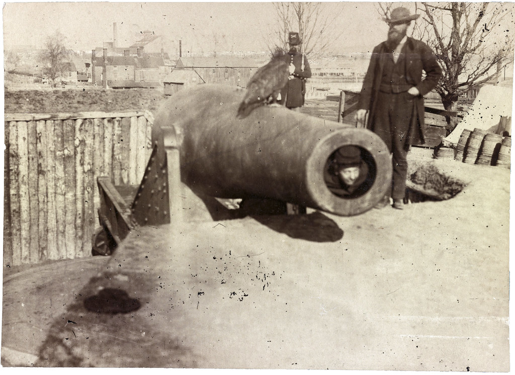 15 inch Rodman smooth bore cannon at Battery Rodgers, near Alexandria, during American Civil War