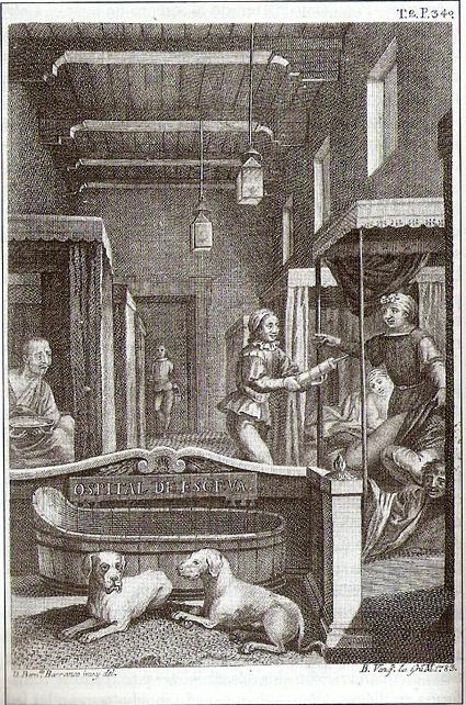 16g22 Grabado de la edición de las Novelas ejemplares realizada por Antonio de Sancha en 1783 que ilustra El coloquio de los perros