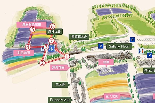 富田農場森林彩虹花田建議路線圖