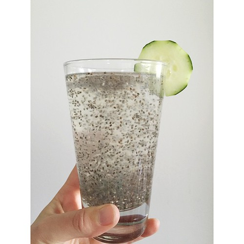 1.5 tsp chia seeds, juice of a lemon or lime (and optional honey to taste) plus water. Stir and let sit for 10 min. Stir before you drink, enjoy the little bubbles of chia. It's so good, you guys. Mini bubble tea-esque.