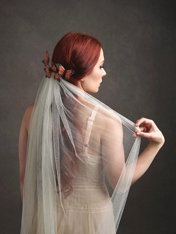 Florence Butterfly Wedding Veil Butterfly Headpiece