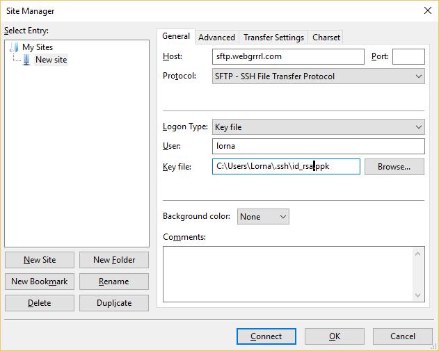 FileZilla with key auth