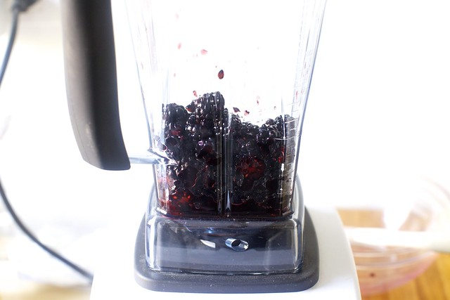 half-blending blackberries