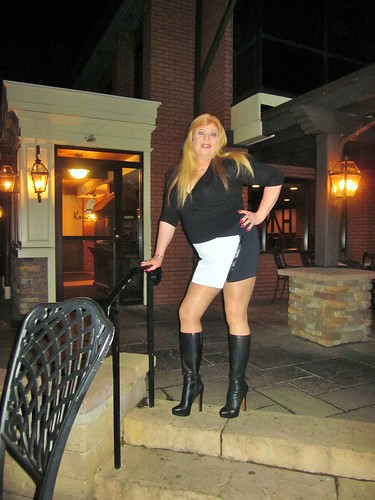 Contrasting Mini Skirt Calvin Kline Boots Amp Long Hair