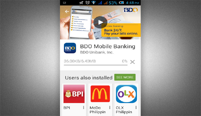 How to Install BDO Mobile Banking app step 3
